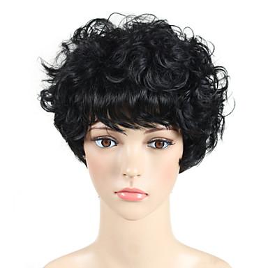 פאות סינתטיות מתולתל / גלי פיקסי קאט / עם פוני שיער סינטטי פאה אפרו-אמריקאית שחור פאה ללא מכסה