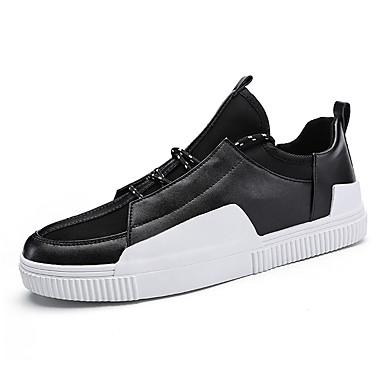 Homens sapatos Borracha Primavera/Outono Conforto Tênis Cadarço para Ao ar livre Branco Preto Preto e Vermelho