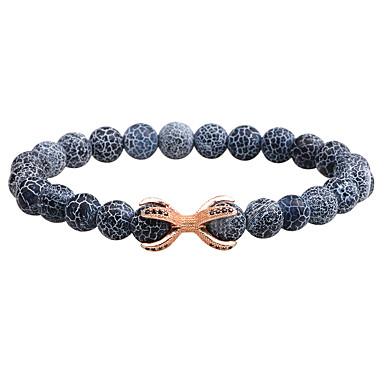 baratos Pulseira de Corrente-Homens ônix Pedra vulcânica Pulseiras em Correntes e Ligações Bracelete Fashion Liga Pulseira de jóias Preto / Marron / Azul Para Diário Formal