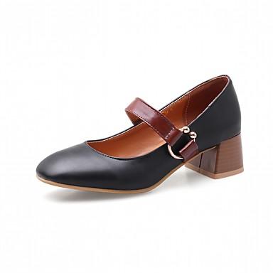 בגדי ריקוד נשים נעליים דמוי עור אביב / סתיו נוחות / חדשני עקבים עקב עבה בוהן מרובעת אבזם שחור / ורוד / שקד / שמלה