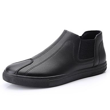 בגדי ריקוד גברים אור סוליות עור / PU אביב / קיץ נוחות נעליים ללא שרוכים שחור / מסיבה וערב