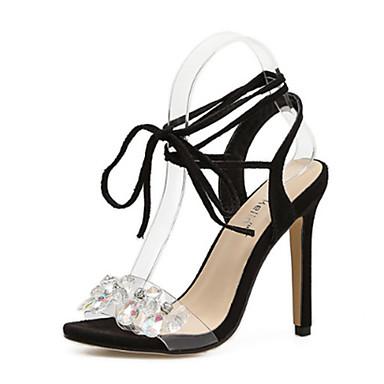 בגדי ריקוד נשים נעליים PU אביב / קיץ נוחות / חדשני סנדלים עקב סטילטו פתוח בבוהן קריסטל שחור / מסיבה וערב / מסיבה וערב / תחרה