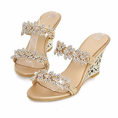 בגדי ריקוד נשים נעליים נצנצים / PU אביב / קיץ נוחות סנדלים עקב טריז זהב / כסף
