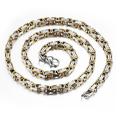 voordelige Herensieraden-Heren Kettingen Tweekleurig Baht Chain Mariner Chain Rock Modieus Hip-hop Hip Hop Titanium Staal Verguld Titanium Goud Zilver Kettingen Sieraden Voor Dagelijks Straat