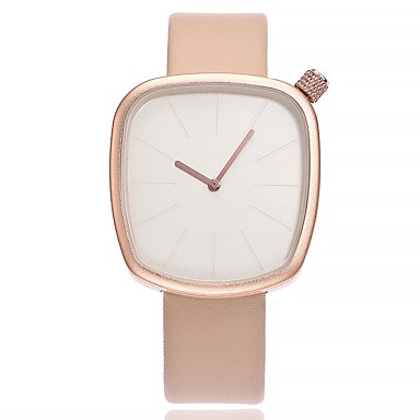 cheap Women's Watches-Women's Wrist watch Fashion Watch Chinese Quartz Large Dial Leather Band Casual Minimalist Black White Blue Brown Grey Pink Beige