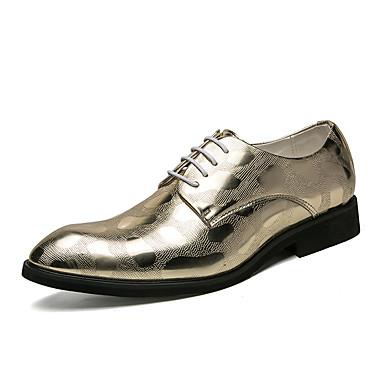 בגדי ריקוד גברים נעליים פורמליות דמוי עור אביב / קיץ נעלי אוקספורד זהב / שחור / חתונה / מסיבה וערב / לבש נעליים