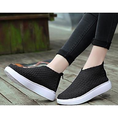 בגדי ריקוד נשים נעליים סינטתי סתיו / חורף נוחות / מגפיים מגפיים שטוח לבן / שחור / צהוב