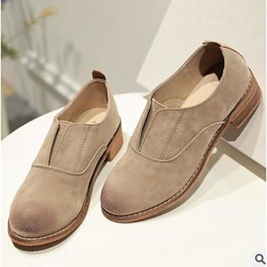 בגדי ריקוד נשים עור נאפה Leather / PU סתיו נוחות נעליים ללא שרוכים עקב עבה בוהן סגורה שחור / שקד
