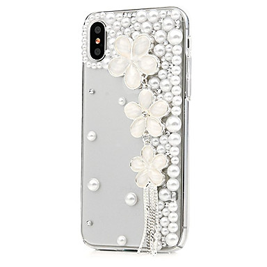 מגן עבור Apple iPhone X / iPhone 8 Plus ריינסטון / תבנית כיסוי מלא פרח קשיח עור PU ל iPhone X / iPhone 8 Plus / iPhone 8