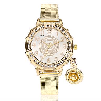 ed842859d58 Mulheres Relógio de Pulso Quartzo Dourada imitação de diamante Analógico  senhoras Flor Casual Fashion - Dourado