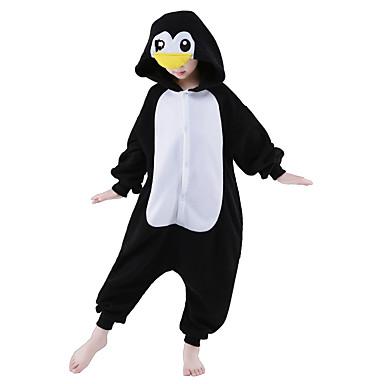 きぐるみパジャマ ペンギン ワンピースパジャマ コスチューム フリース ブラック コスプレ ために 子供用 動物パジャマ 漫画 ハロウィン イベント/ホリデー