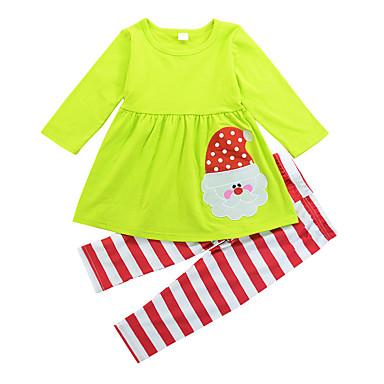 סט של בגדים כותנה ארוך שרוול ארוך אחיד / פסים / טלאים חגים / ליציאה פעיל בנות פעוטות / חמוד