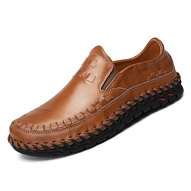 נעליים עור אביב סתיו נוחות נעליים ללא שרוכים ל קזו'אל שחור חום
