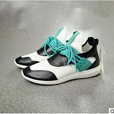 בגדי ריקוד נשים נעליים PU קיץ נוחות נעלי ספורט שטוח בוהן סגורה שחור / ירוק