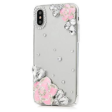 מגן עבור Apple iPhone X iPhone 8 Plus ריינסטון כיסוי מלא פרח קשיח עור PU ל iPhone X iPhone 8 Plus iPhone 8 iPhone 7 Plus iPhone 7 iPhone