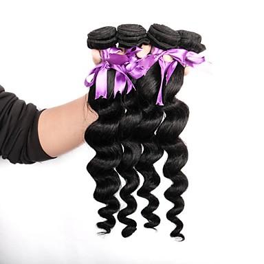 baratos Extensões de Cabelo Natural-4 pacotes Cabelo Brasileiro Ondulação Larga 8A Cabelo Humano Cabelo Humano Ondulado 8-28 polegada Tramas de cabelo humano Venda imperdível 8a Extensões de cabelo humano