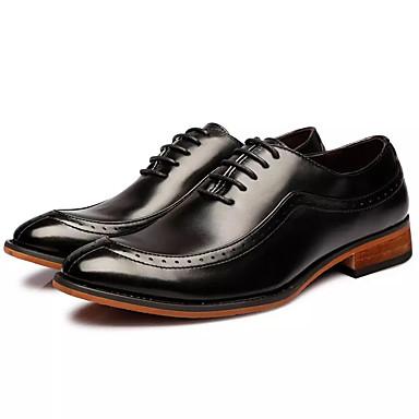 בגדי ריקוד גברים עור אביב / סתיו נוחות נעלי אוקספורד שחור / חום