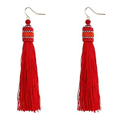 בגדי ריקוד נשים פרנזים עגילי טיפה - צִיצִית, בוהמי, מתוק אדום / כחול בהיר / כחול ים עבור Party / מסיבת ערב
