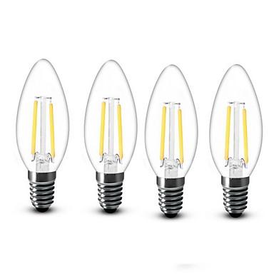 4stk 2W 200lm E14 LED-stearinlyspærer C35 2 LED Perler COB Dekorativ Varm hvid 220-240V