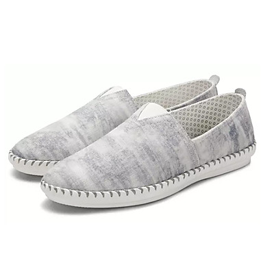 בגדי ריקוד גברים נעליים בד אביב / קיץ נוחות נעליים ללא שרוכים אפור / כחול