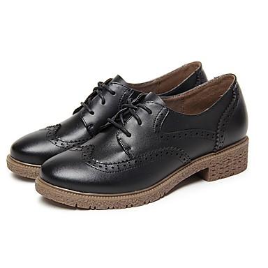 בגדי ריקוד נשים נעליים עור אביב / קיץ נוחות נעלי אוקספורד עקב עבה בוהן עגולה חום / כחול / Wine