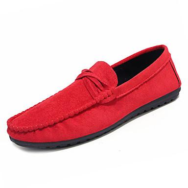 בגדי ריקוד גברים נעליים קשמיר אביב / סתיו מוקסין נעליים ללא שרוכים שחור / חום / אדום
