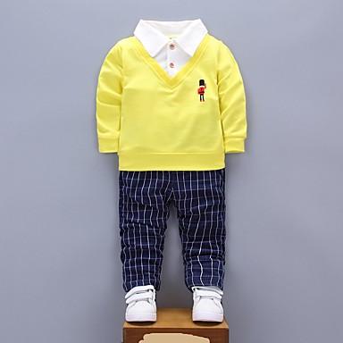 סט של בגדים כותנה אביב סתיו שרוול ארוך יומי אחיד פסים בנים גופים נפרדים תלתן צהוב