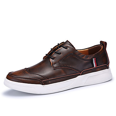 Men's Novelty Shoes Leather / Cowhide Spring / Fall Comfort / Sneakers Gray / Brown / Comfort Red bc24ff