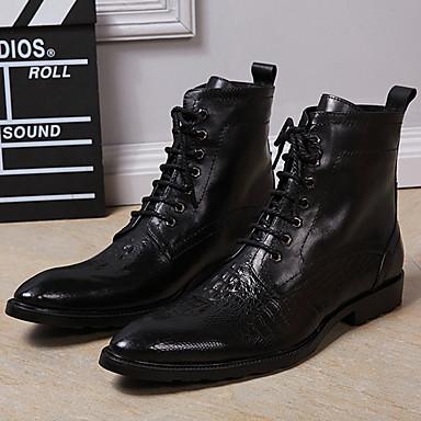 בגדי ריקוד גברים Fashion Boots עור נאפה Leather סתיו / חורף מגפי אופנוענים מגפיים מגפונים\מגף קרסול שחור / מסיבה וערב