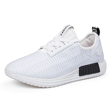 בגדי ריקוד גברים טול אביב / סתיו נוחות נעלי ספורט לבן / שחור / אדום