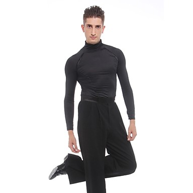 ריקוד לטיני חולצות בגדי ריקוד גברים הצגה ספנדקס קפלים שרוול ארוך טבעי עליון