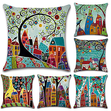 cheap Home Decor-Pack of 5, Botanical Bohemian Style Retro Cotton Linen Decorative Square Throw Pillow Covers Set Cushion Case for Sofa Bedroom Car