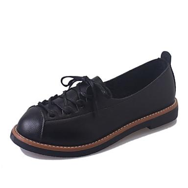 בגדי ריקוד נשים נעליים PU אביב / קיץ נוחות שטוחות שטוח בוהן עגולה לבן / שחור