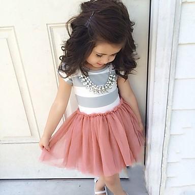 שמלה כותנה אקריליק כל העונות שרוולים קצרים יומי ליציאה חגים אחיד פסים הילדה של פשוט חמוד ורוד מסמיק