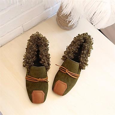 בגדי ריקוד נשים נעליים סוויד סתיו / חורף פרווה בטנה נעליים ללא שרוכים עקב עבה בוהן מרובעת שחור / ירוק צבא