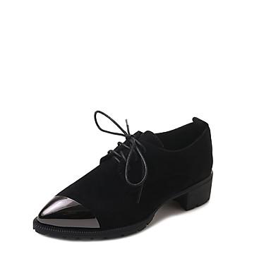 בגדי ריקוד נשים נעליים קשמיר אביב נוחות נעלי אוקספורד עקב נמוך בוהן עגולה שחור / חאקי