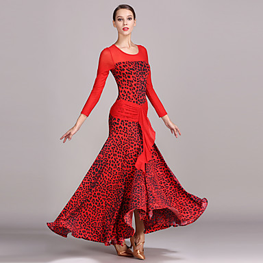 ボールルームダンス ドレス 女性用 性能 チュール アイスシルク パターン/プリント 長袖 ハイウエスト ドレス