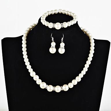 בגדי ריקוד נשים סט תכשיטים - דמוי פנינה בוהמי, ארופאי, מתוק לִכלוֹל לבן עבור Party מסיבת ערב / עגילים