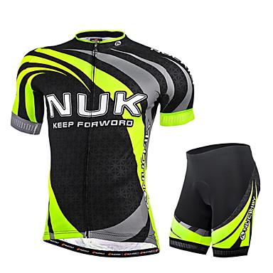 Nuckily Hombre Manga Corta Maillot de Ciclismo con Shorts - Verde Geométrico Bicicleta Shorts/Malla corta Camiseta/Maillot Sets de Prendas