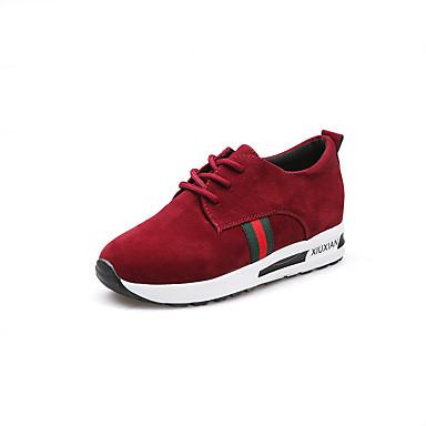 בגדי ריקוד נשים נעלי נוחות PU אביב / סתיו שטוחות שחור / אפור / אדום / Fashion Boots