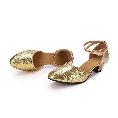 בגדי ריקוד נשים נעליים מודרניות Paillette / דמוי עור עקבים Paillette עקב מותאם מותאם אישית נעלי ריקוד זהב