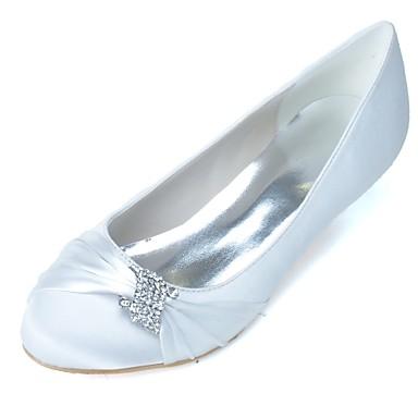 baratos Sapatos de Noiva-Mulheres Sapatos De Casamento Salto Sabrina Ponta Redonda Pedrarias Cetim Plataforma Básica Primavera / Verão Roxo / Azul / Champanhe / Festas & Noite