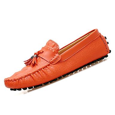 בגדי ריקוד גברים נעליים PU אביב / סתיו מוקסין נעליים ללא שרוכים לבן / שחור / חום