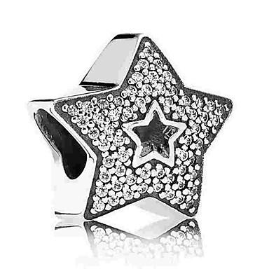 תכשיטים DIY 1 יח חרוזים יהלום מדומה סגסוגת כסף כוכב חָרוּז 0.5 cm עשה זאת בעצמך שרשראות צמידים