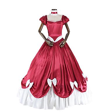רוקוקו ויקטוריאני תחפושות בגדי ריקוד נשים שמלות אדום /  לבן וינטאג Cosplay טפטה שרוולים קצרים שרוול נפוח תחפושות ליל כל הקדושים
