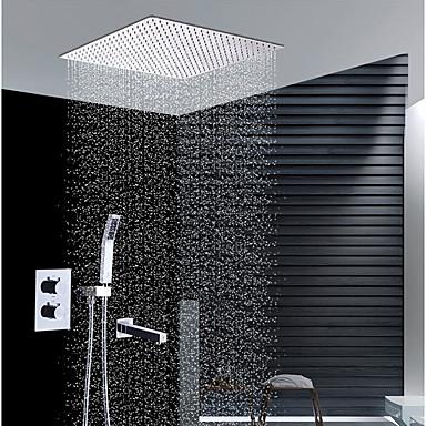 ברז למקלחת - עכשווי כרום התקנת קיר שסתום קרמי / Brass / שתי ידיות ארבעה חורים