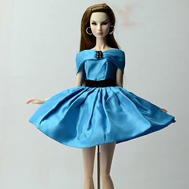 voordelige Poppenaccessoires-Poppenjurk Jurken Voor Barbie Blauw Poly / Katoen Kleding Voor voor meisjes Speelgoedpop