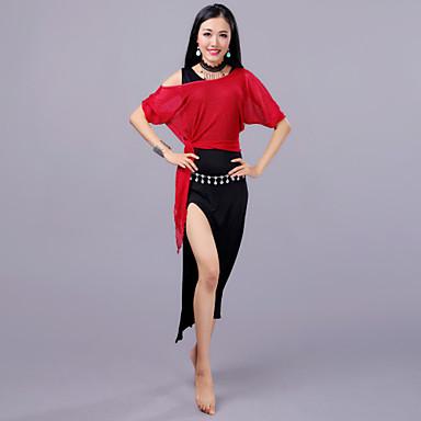 ריקוד בטן תלבושות בגדי ריקוד נשים הדרכה / הצגה צורני / רשת שסע חצי שרוול נפול חצאיות / עליון / מכנסיים קצרים