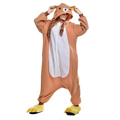 Kigurumi-Pyjamas Bär Pyjamas-Einteiler Kostüm Polar-Fleece Orange Cosplay Für Erwachsene Tiernachtwäsche Karikatur Halloween Fest /