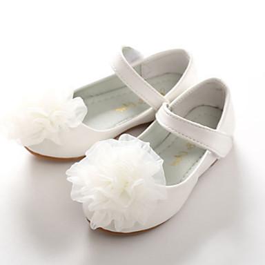 בנות נעליים PU אביב / סתיו נוחות / חדשני / נעליים לילדת הפרחים שטוחות אפליקציות / סקוטש ל לבן / ורוד / חתונה / מסיבה וערב